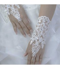 2017 hot ivory/white wedding fingerless lace bridal gloves with lace up