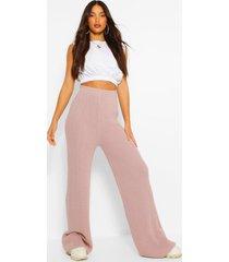 tall gebreide broek met hoge taille, blush
