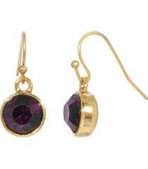 2028 women's gold tone purple channel wire drop earring