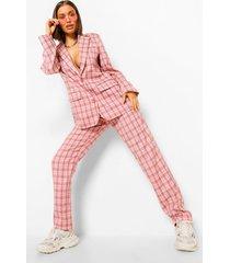 geruite broek met rechte pijpen en ceintuur, pink