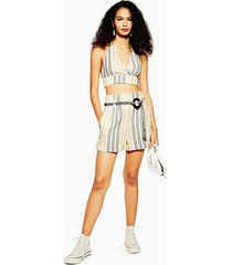 natural stripe shorts with linen - multi
