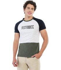 camiseta combinada azul navy, gris jaspe claro y verde militar manpotsherd polonia
