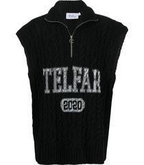 telfar logo print pullover jumper - black