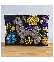 wool cosmetic bag, 'llama glam in grey' (peru)