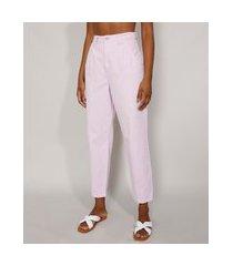 calça de sarja feminina baggy cintura super alta lilás
