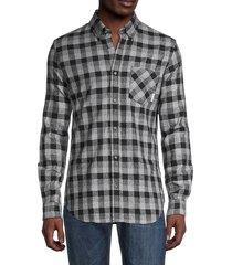 ben sherman men's check-print slim-fit shirt - black - size s