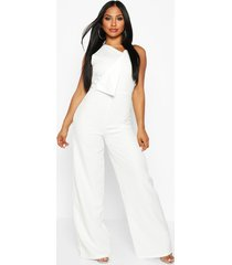 one shoulder wide leg jumpsuit, ivory