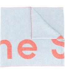 acne studios cachecol jacquard com logo - azul