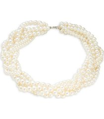 10mm silver pearl collar necklace