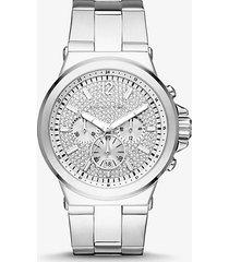 mk orologio dylan oversize tonalità argento con pavé - argento (argento) - michael kors