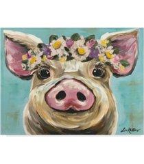 """hippie hound studios pig rosie flower crown 3 canvas art - 37"""" x 49"""""""