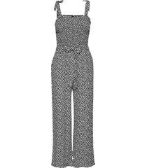 leaf smocked jumpsuit jumpsuit grå abercrombie & fitch