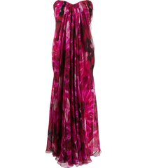alexander mcqueen floral print strapless evening dress - pink