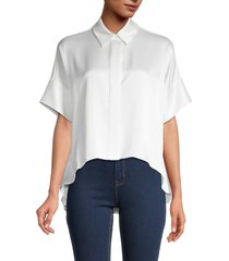 alice + olivia by stacey bendet women's edyth high-low button-front top - off white - size xs