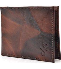 carteira de couro hendy bag caramelo e marrom plasticos removíveis - kanui