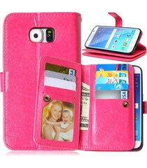 s6 case, galaxy s6 wallet, xyx [pink] 9 card holder wallet case pu leather flip
