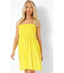 geplooide strapless skater jurk, yellow