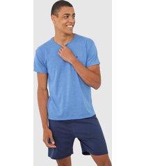 pijama malwee liberta logo azul - azul - masculino - algodã£o - dafiti