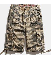 pantaloncini da uomo casual in cotone mimetico multi-tasca mimetico estivo plus taglia carico