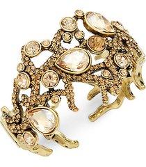 goldtone & crystal cuffs bracelet