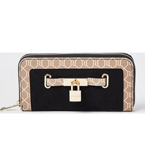 river island womens black padlock monogram zip around purse