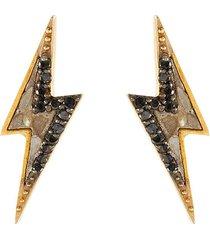 rishi bolt' black diamond 18k gold vermeil resin stud earrings