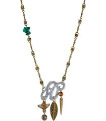 t.r.u. by 1928 mixed metal necklace with semi-precious malachite labradorite and tigers eye