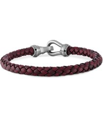 esquire men's jewelry braided red leather bracelet in stainless steel, created for macy's