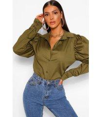 blouse met schoudervulling, kaki
