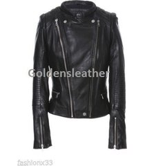 designer women biker leather jacket motorcycle jacket racer leather jacket-cn19