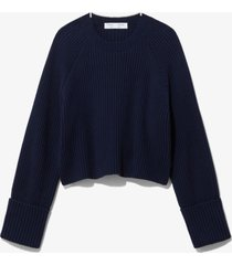 proenza schouler white label cotton wool cropped knit pullover navy/cinnamon/off white/blue l