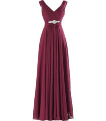 kivary v neck beaded long a line chiffon formal prom dresses corset bridesmaid g