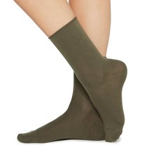 calzedonia - short cotton socks with comfort cut cuffs, 39-41, green, women