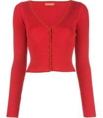 altuzarra eva knit cardigan - red