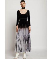 proenza schouler tie dye velvet scoop neck dress ecru/lavender/black m