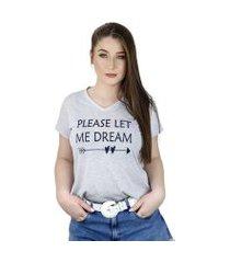 t-shirt feminina please let me dream cinza - la cerise - bz0015-cz