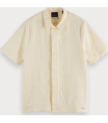 scotch & soda sashiko-overhemd met korte mouwen van een katoenmix