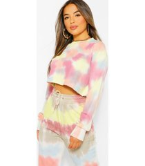 petite colourful tie dye cropped sweatshirt, multi