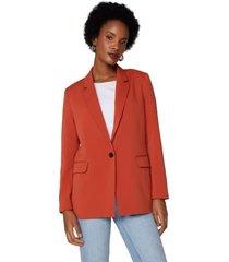 amaro feminino blazer básico botão único alongado, laranja queimado