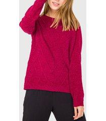 sweater io con trenzas burdeo - calce regular