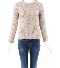 brunello cucinelli cashmere wool sequin sweater brown sz: xs