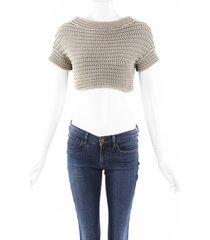 brunello cucinelli chunky knit cropped sweater beige sz: s
