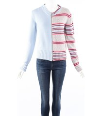 maison martin margiela mm6 blue gray striped knit zip up cardigan sweater blue/gray sz: s