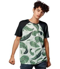 camiseta outono floral verde masculina - masculino