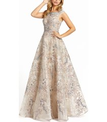 mac duggal embroidered embellished boat-neck a-line gown