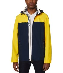nautica men's colorblock stretch hooded jacket