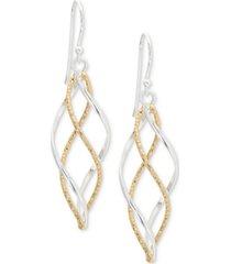 giani bernini twist dangle drop earrings in sterling silver and 18k gold-plate, created for macy's