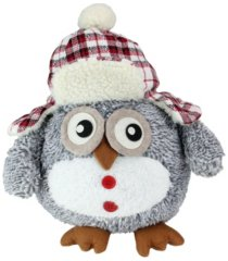 """northlight 12"""" gray owl with plaid bomber cap plush table top christmas figure"""