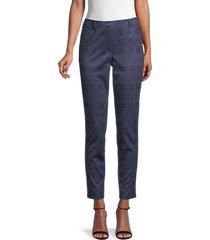 tommy hilfiger women's tapered plaid pants - indigo - size 8
