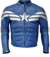 handmade captain america easy rider jacket for men, blue leather jacket